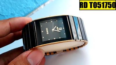 Đồng hồ đeo tay nam mặt vuông dây đá ceramic đen