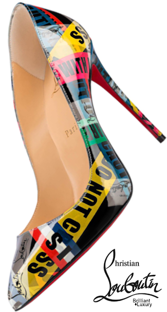 Brilliant Luxury♦Christian Louboutin Pigalle Follies stilettos crafted in CL exclusive printed-patent leather featuring the FRAGILE and CL #pumps #shoes