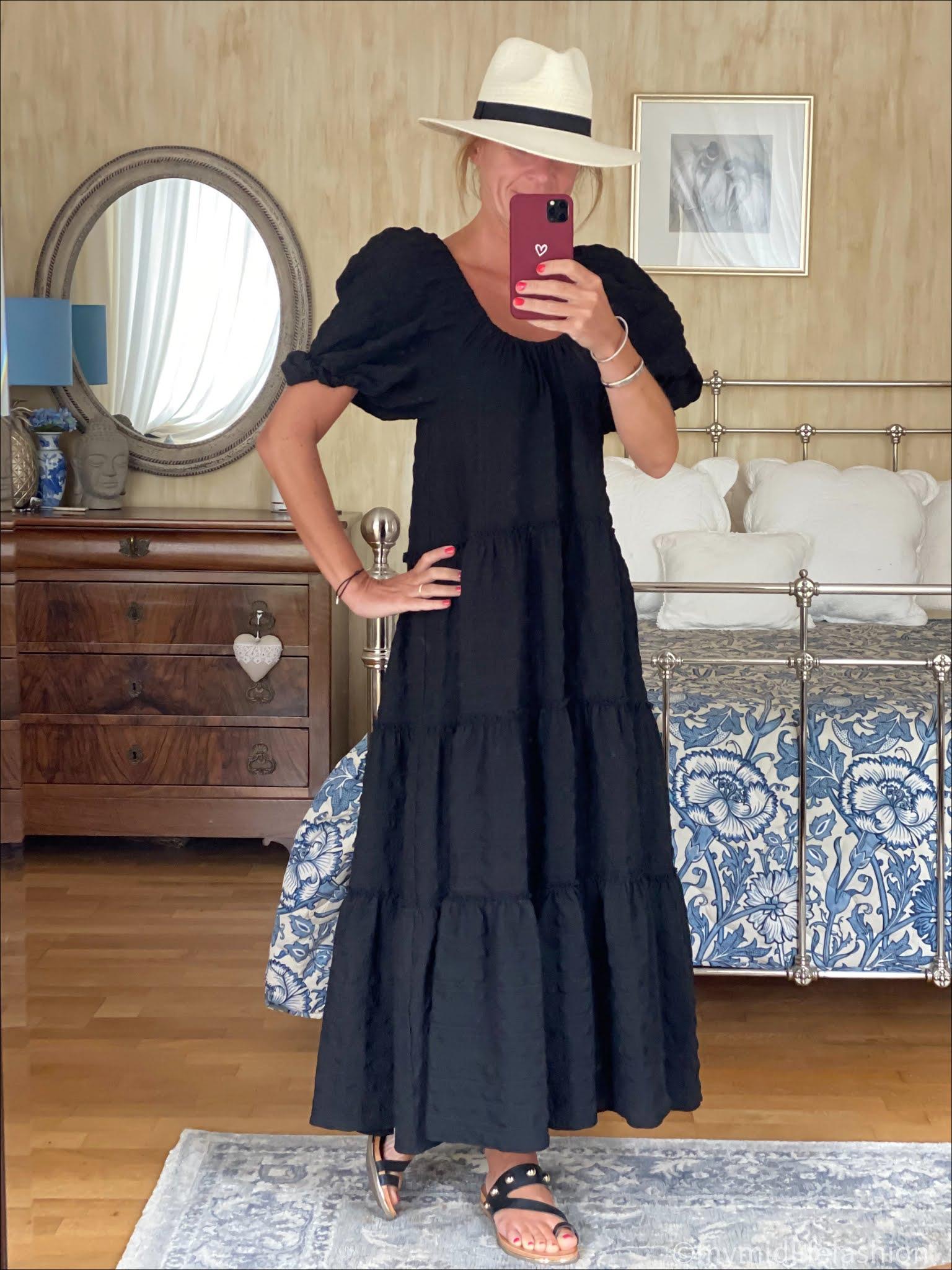 my midlife fashion, Zara Panama hat, Zara flounce maxi dress, carvela karafe sandals