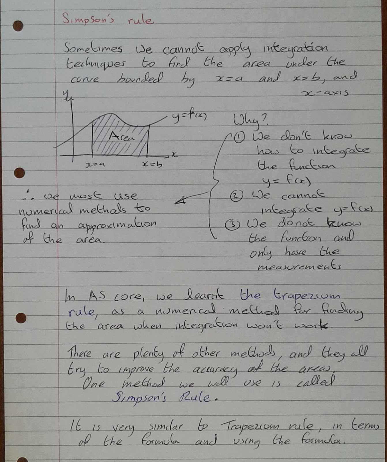 A Level Maths Notes: A2 Numerical Methods: Simpson's rule