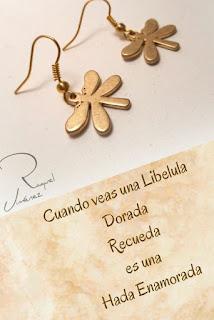 pendientes- libélula -dorada