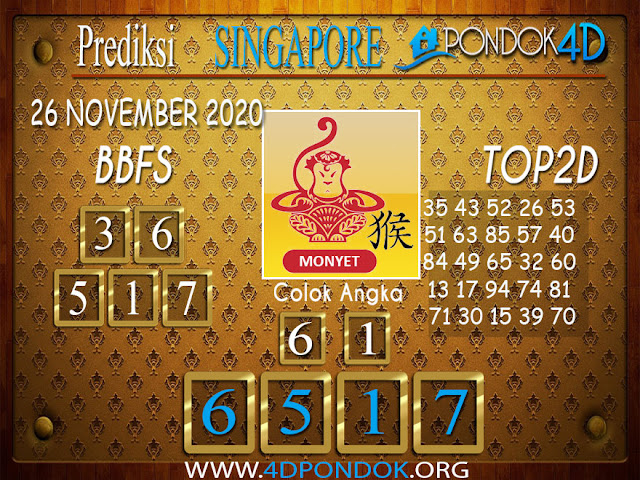 Prediksi Togel SINGAPORE PONDOK4D 26 NOVEMBER 2020
