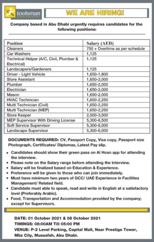 Construction Company Jobs Recruitment Multiple Position in Abu Dhabi, UAE   Walk In Interview