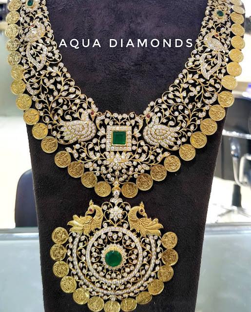 Lotus Peacock Diamond Kasu Mala