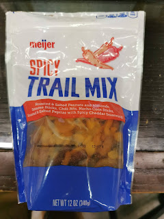 A bag of Meijer Spicy Trail Mix, available from...well...Meijer