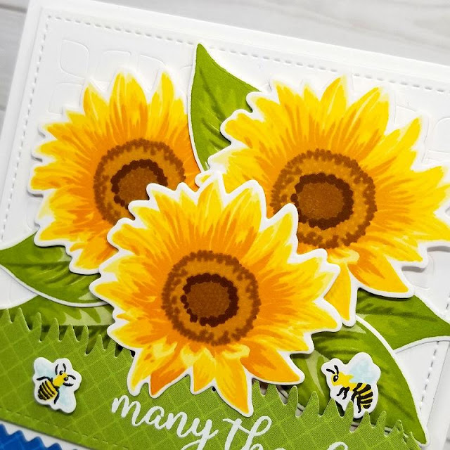 Sunny Studio Stamps: Sunflower Fields Fancy Frames Dies Frilly Frames Dies Thank You Card by Ana Anderson