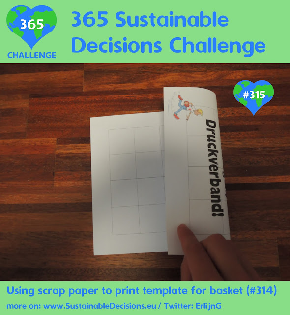 #315 - Using scrap paper to print template for basket (#314), reducing waste, sustainability, sustainable living, climate action