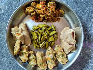 Sorghum (Solam) Veg Dumplings, Sweet Dumplings, Cluster beans poriyal, Bitter Gourd masala