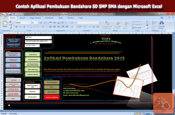 Contoh Aplikasi Pembukuan Bendahara SD SMP SMA dengan Microsoft Excel