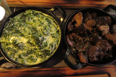 The Feather Blade, creamed spinach mushrooms