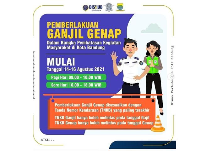Berlaku 14 - 16 Agustus 2021, Ini Aturan Ganjil-Genap di Kota Bandung