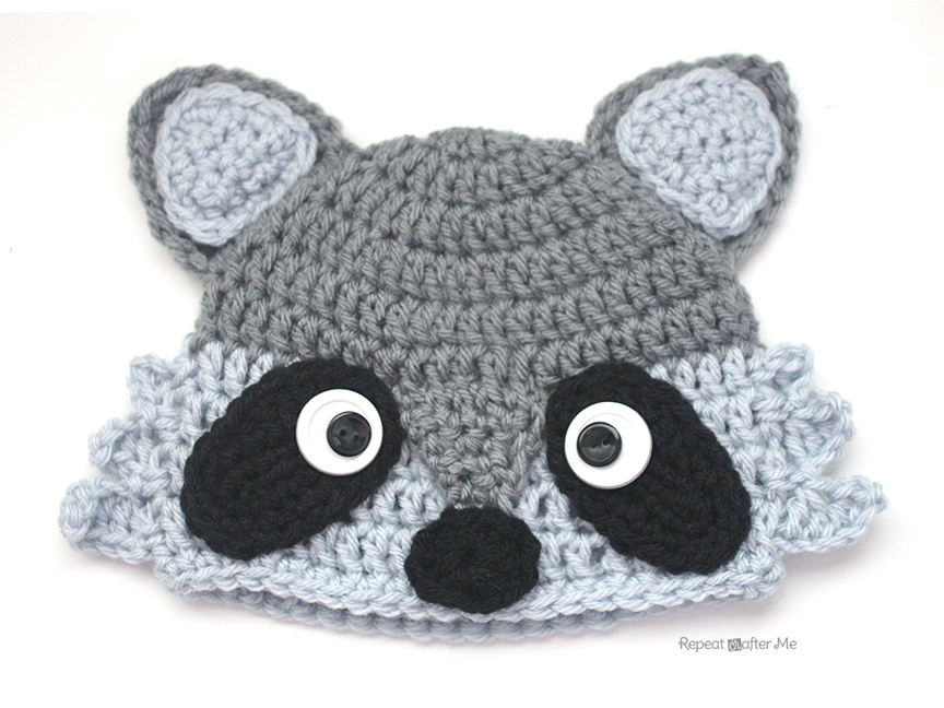 Crochet Raccoon Hat - Repeat Crafter Me efe6b13f42f