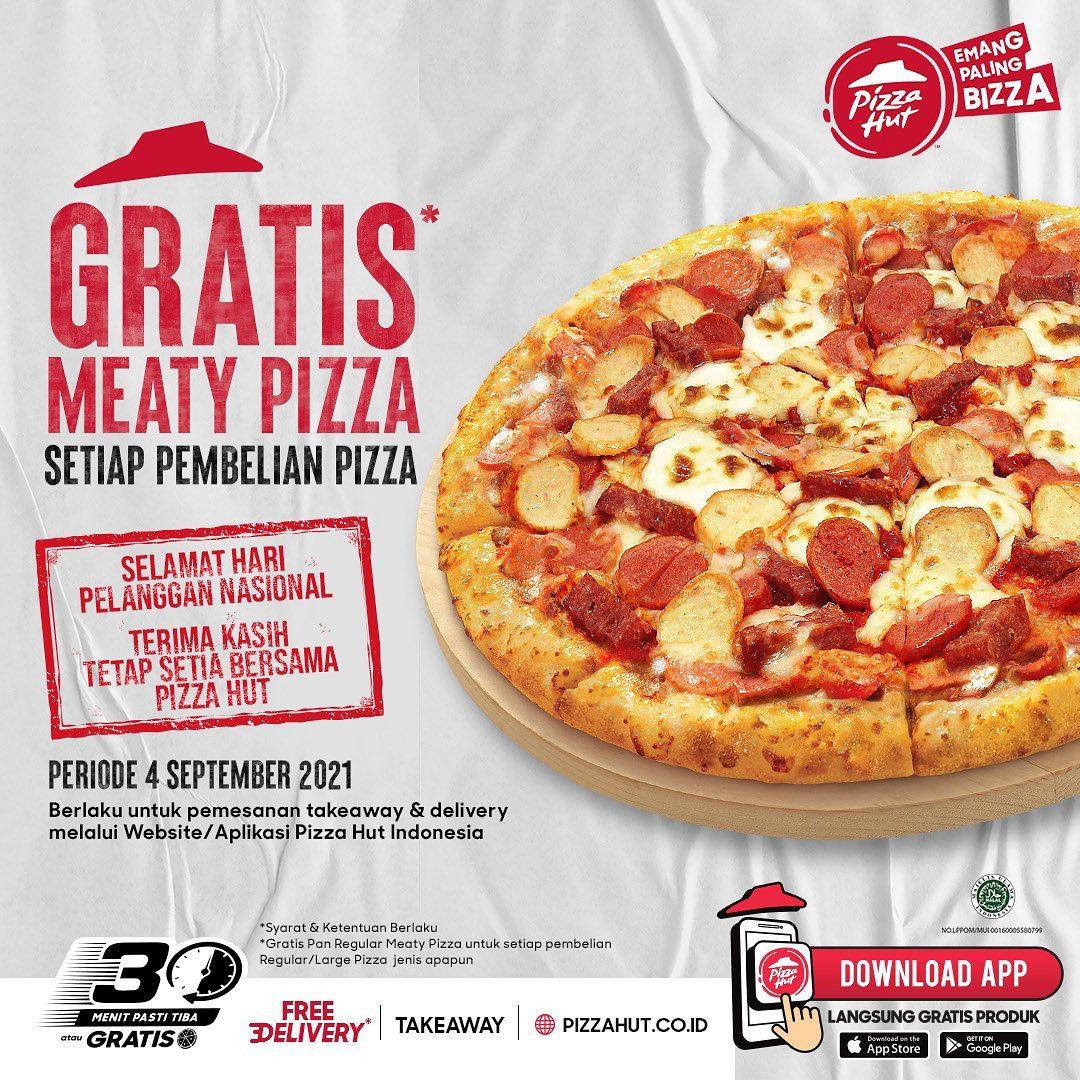 Promo Pizza HUT Gratis Meaty Pizza Periode 4 September 2021