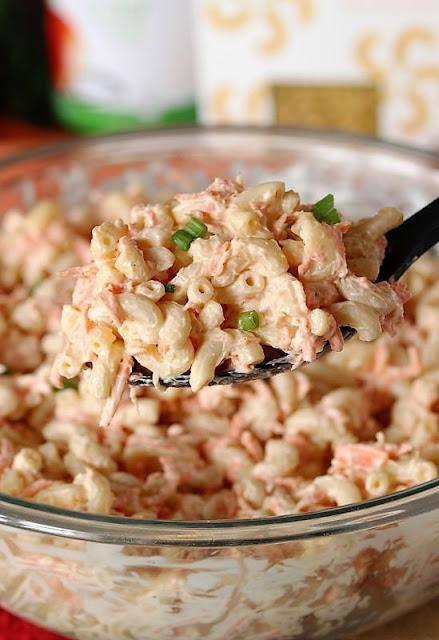 Serving Spoon of Hawaiian Macaroni Salad Image