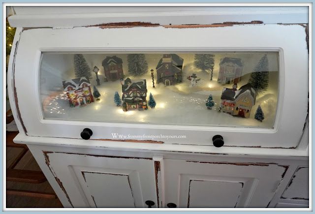French -Farmhouse -Cottage- White -Dining- Room- Cabinet-Christmas- Vignettes-Christmas-Village-Bread-Makers-Cabinet-From My Front Porch To Yours