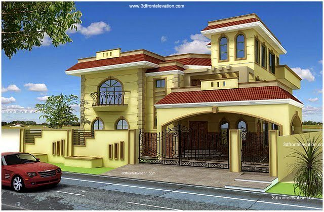 Pakistan 1 kanal 10 marla plan 3d front elevation of for Beautiful 3d home design