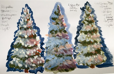 Three pine tree sketches, figuring out the steps, ©2020 Tina M.Welter