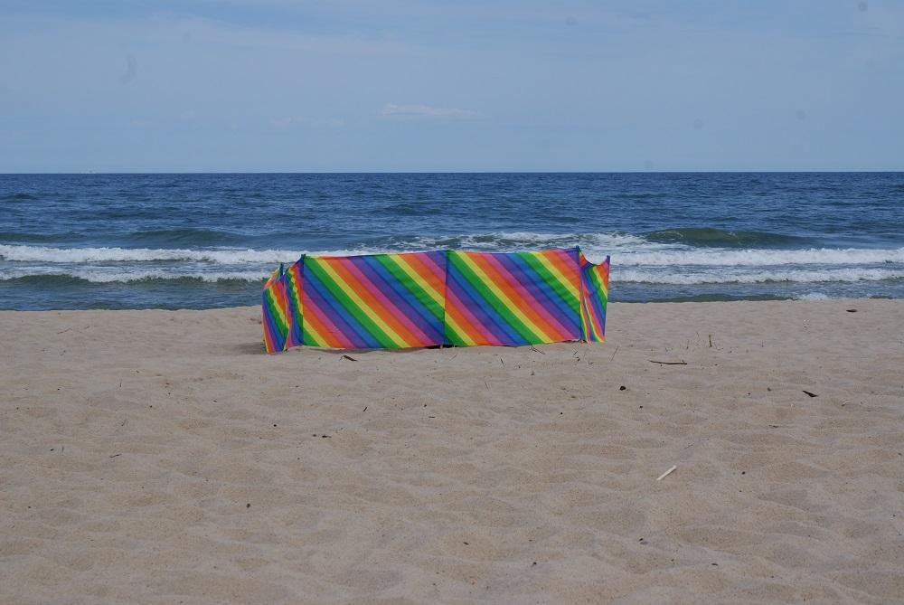 plaża, parawan