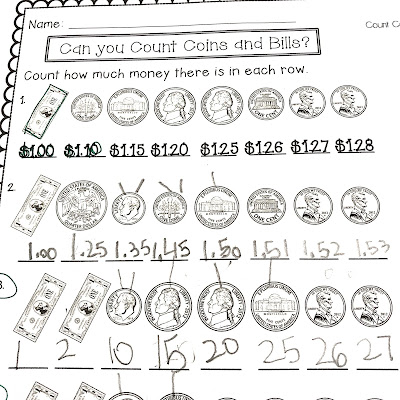 Counting Money with Students - Coins and Bills