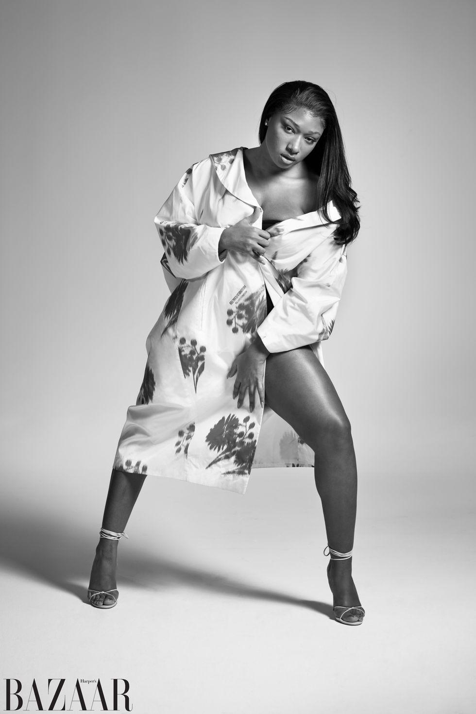 Prada coat and Femme L.A. sandals.
