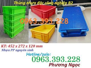 Thùng nhựa B2, khay nhựa đặc, hộp nhựa B2, sóng nhựa công nghiệp có nắp