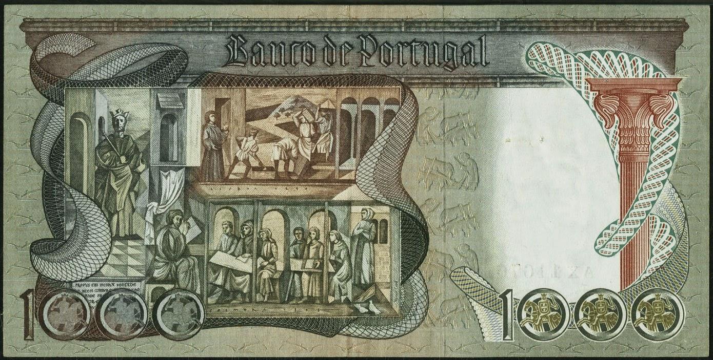 Portugal old money currency 1000 Escudos banknote 1965 Banco de Portugal