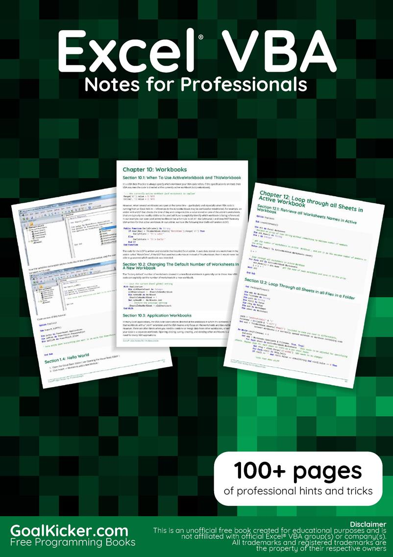 Excel VBA Notes for Professionals