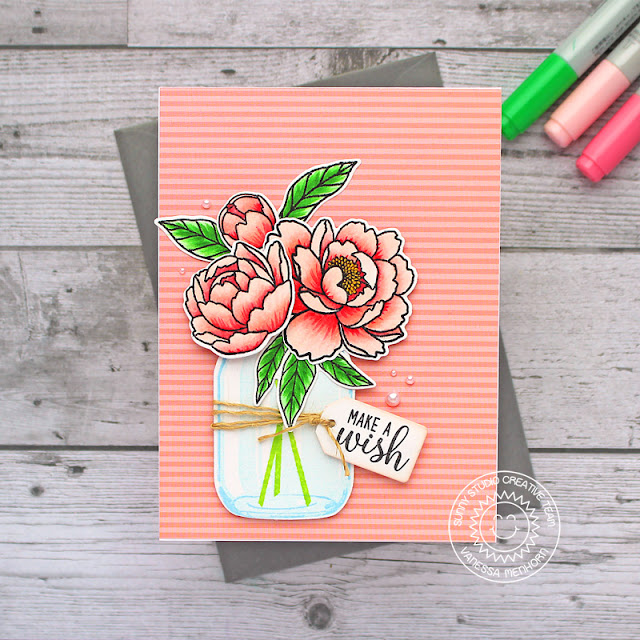 Sunny Studio Stamps: Pink Peonies Vintage Jar Daffodil Dreams Make A Wish Everyday Cards by Vanessa Menhorn