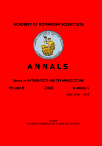 Annals of the Academy of Romanian Scientists: Series on Mathematics and its Applications