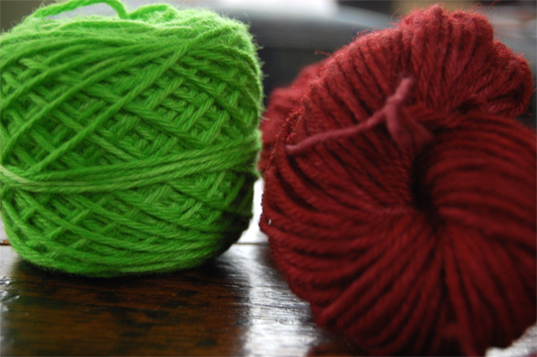 green and maroon kool aid dyed yarn