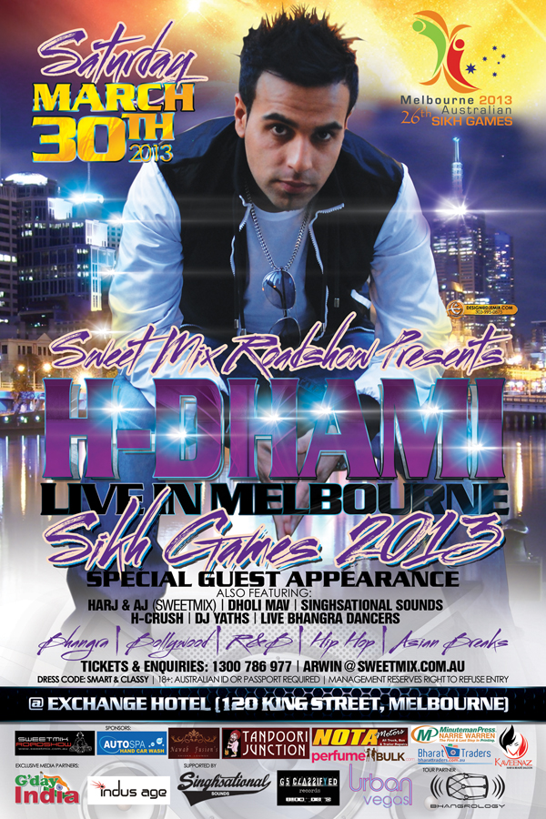 H-Dhami Sikh Games Live Concert Melbourne Australia Flyer and Poster Design