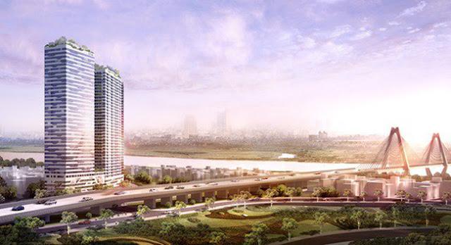 Dự án chung cư bên cạnh cầu Nhật Tân và sông Hồng