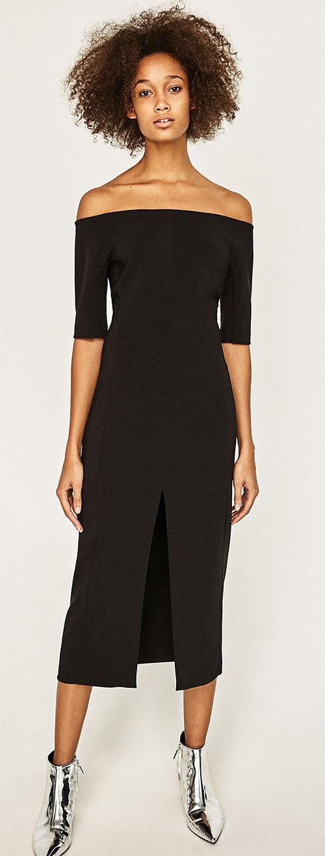 Robe longue noire fendue Zara