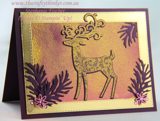 #thecraftythinker #stampinup #christmascard #cardmaking #dashingdeer #goldenglitz , Detailed Deer, Dashing Deer, Gold infused watercolour background, Beautiful Boughs, Christmas Card, Stampin' Up Australia Demonstrator, Stephanie Fischer, Sydney NSW
