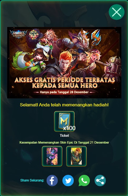 Cara Mendapatkan Skin Epic Gratis Event Revive Hero Mobile Legends