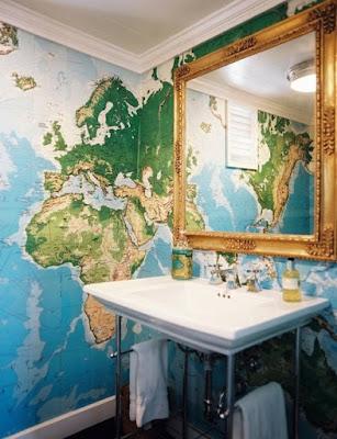 världskarta tapet badrum fototapet med karta