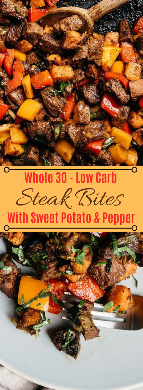 WHOLE30 STEAK BITES WITH SWEET POTATOES AND PEPPERS #whole30 #potato #steak #diet #paleo
