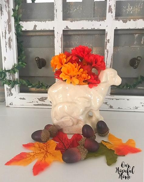 antique mall sheep planter figurine faux leaves acorns