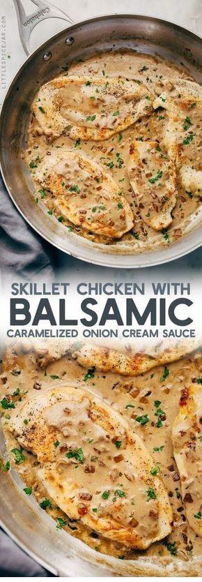 Skillet Chicken In Balsamic Caramelized Onion Cream Sauce