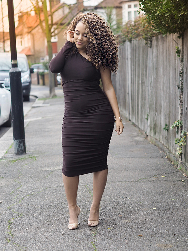 femme luxe, brown dress, one shoulder