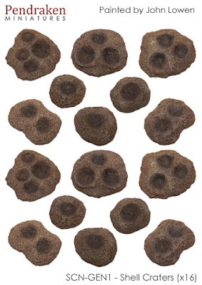 SCN-GEN1    Shell craters x 16, assorted sizes