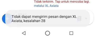 Tidak dapat mengirim pesan dengan XL Axiata, kesalahan 28