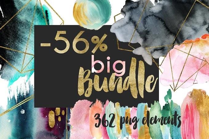 CreativeMarket Watercolor Composition! Big Bundle 1516344