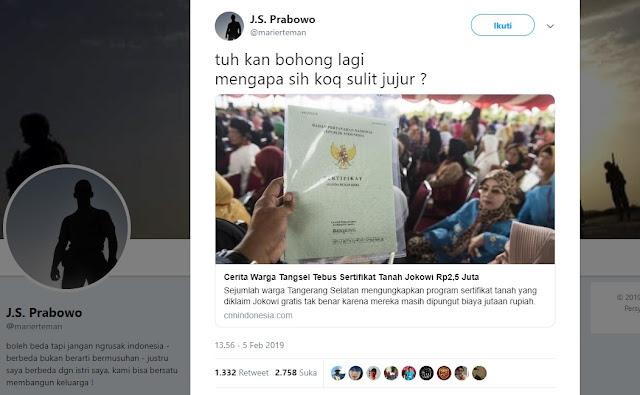 Sertifikat Tanah dari Jokowi Tak Gratis, Suryo Prabowo: Tuh Kan Bohong Lagi