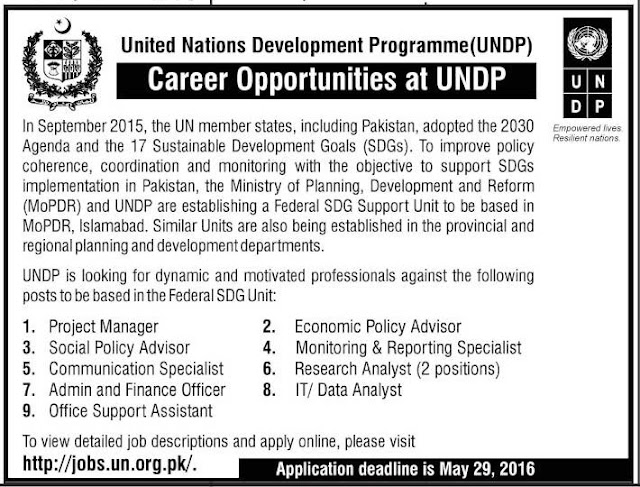 Jobs in United Nation Development Programme Pakistan