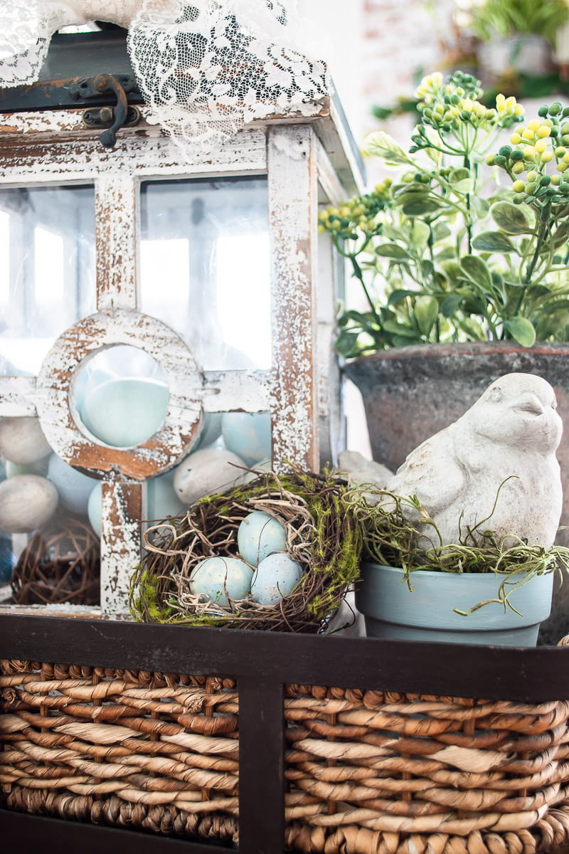 bird's nest with chalk painted eggs