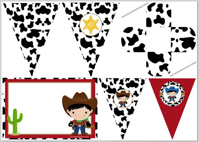 Cowboy babies:Free Printable Invitations  Free Party Printables and Box.