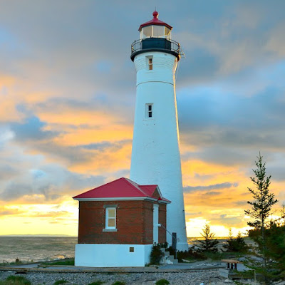 Crisp Point Lighthouse on Lake Superior in Michigan