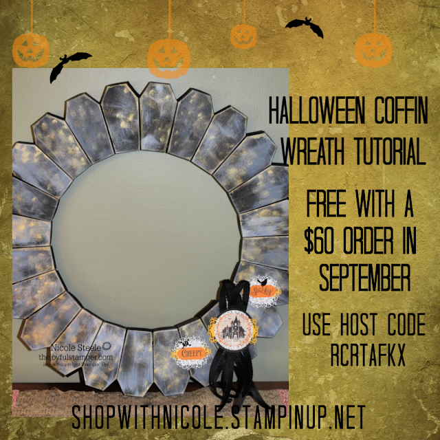 Halloween Coffin Wreath Free Tutorial Offer from Nicole Steele The Joyful Stamper