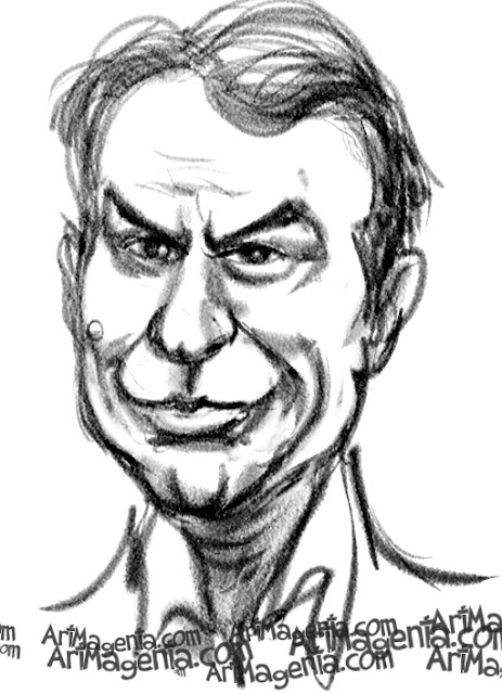 Sam Neill caricature cartoon. Portrait drawing by caricaturist Artmagenta.